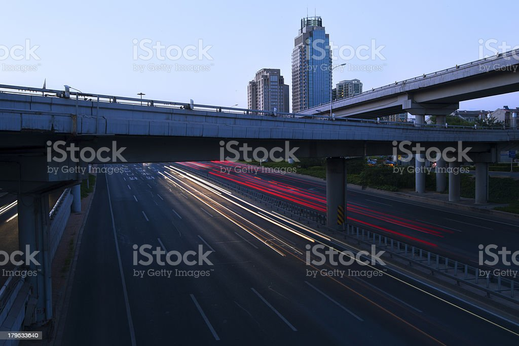 Urban highway traffic at night royalty-free stock photo
