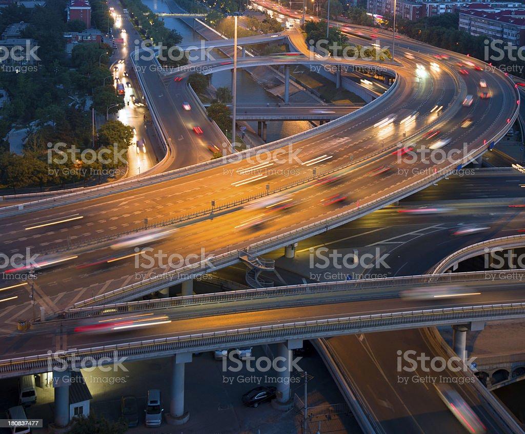 Urban highway traffic at night royalty-free stock photo