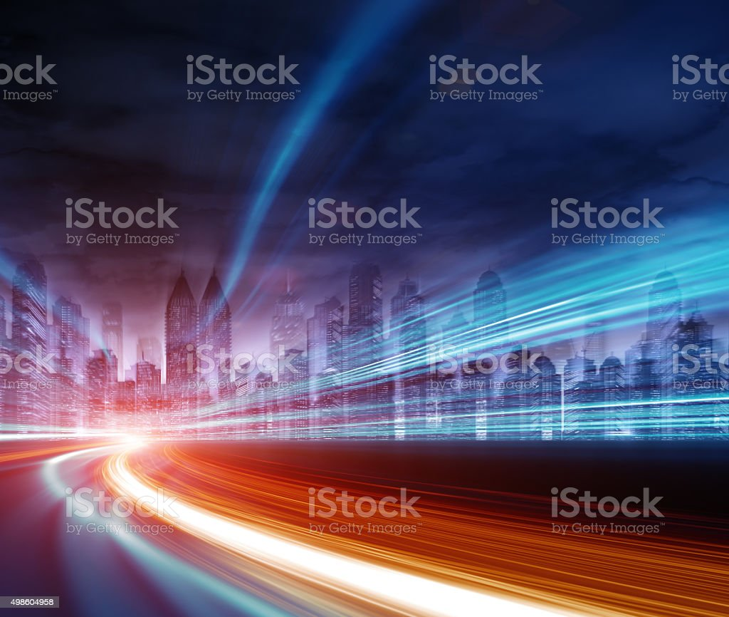 Urban highway traffic at night stock photo