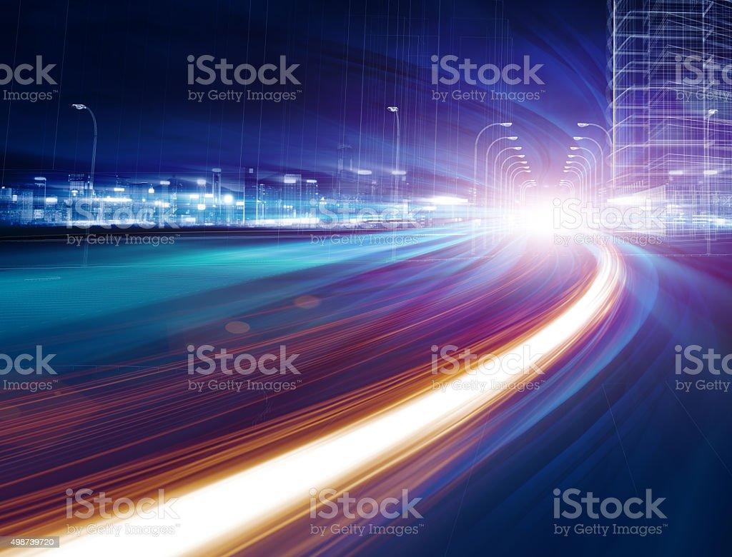 Urban highway traffic at night stock photo