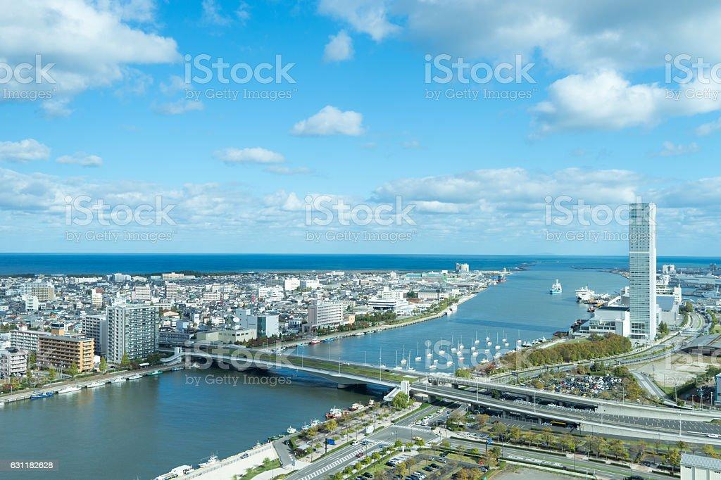 Urban landscape and shinano river in Niigata. 2 stock photo