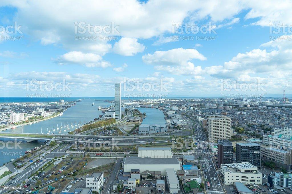 Urban landscape and shinano river in Niigata. 5 stock photo