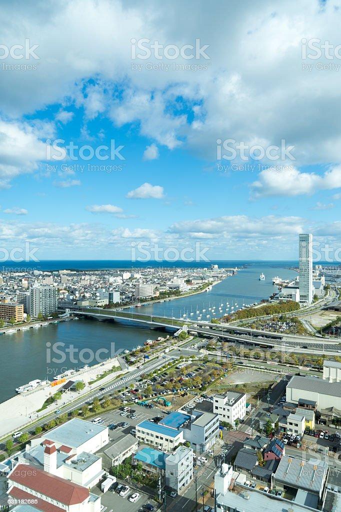 Urban landscape and shinano river in Niigata. stock photo