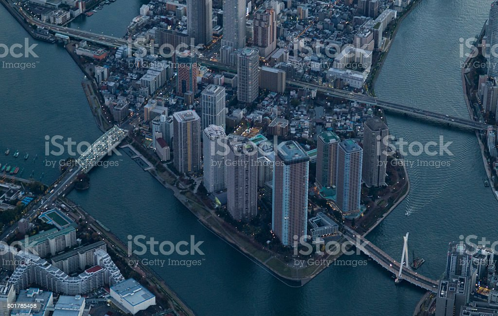 Urban landscape as seen from the air stock photo