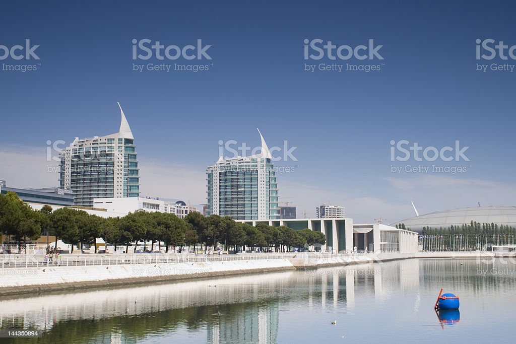 Urban landscape from Parque das NaAoes - Lisboa stock photo