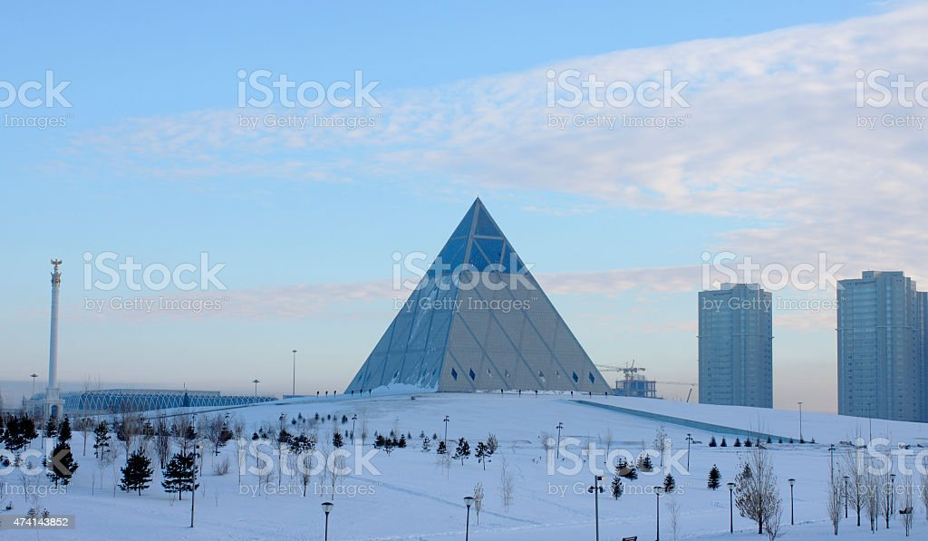 Urban landscape in Astana. see Palace of Peace and Harmony stock photo