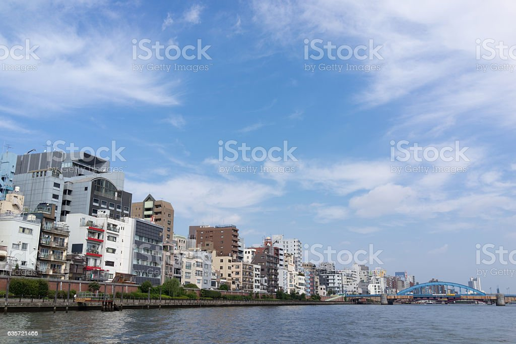 Urban landscape in building  along the Sumida River. 3 stock photo