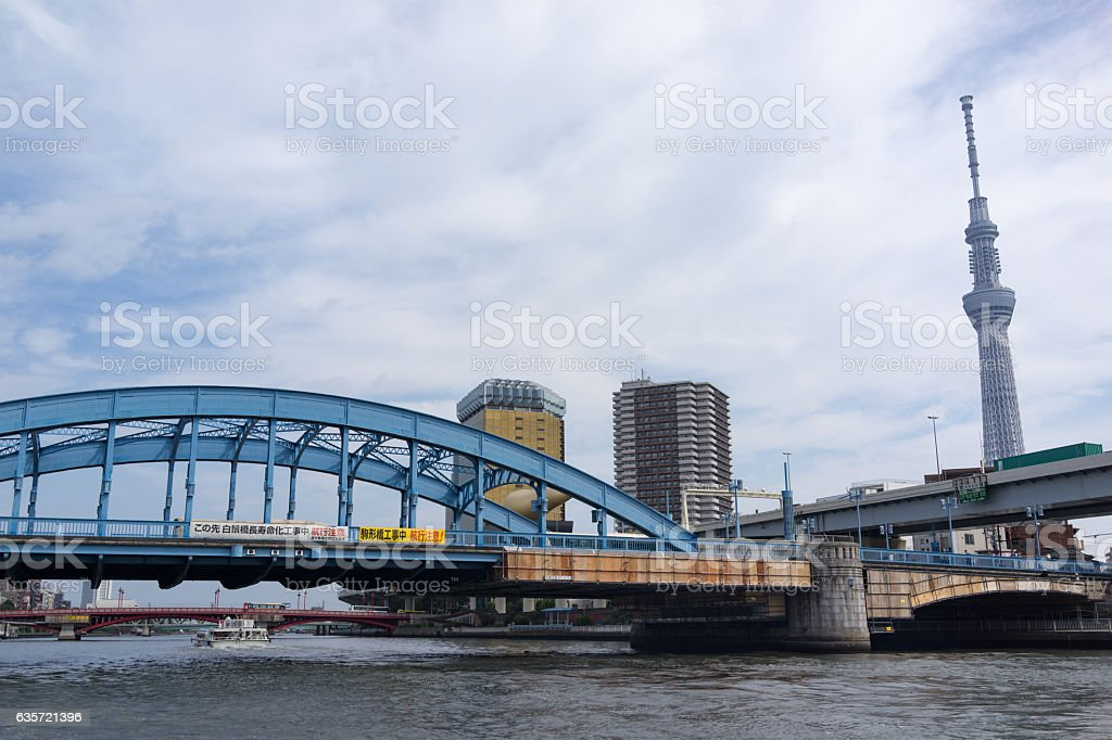 Urban landscape in Tokyo and Komagata bridge. stock photo