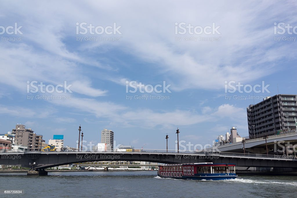 Urban landscape in Tokyo and Ryogoku bridge. 2 stock photo