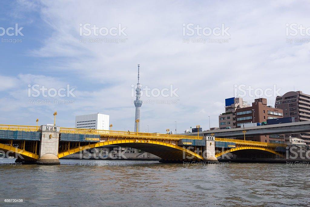 Urban landscape in Tokyo, Kuramae bridge and Tokyo sky tree stock photo