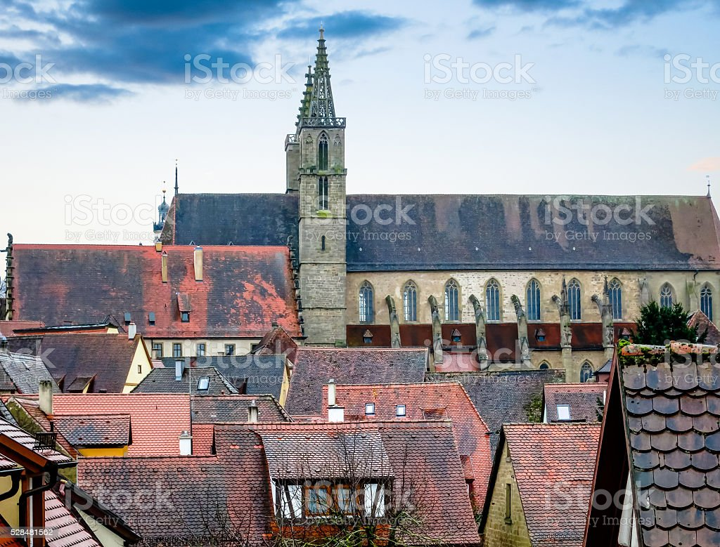 Urban landscape with a church. stock photo