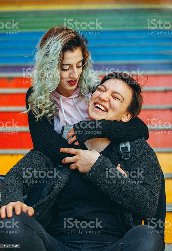 Urban lesbian couple enjoy stock photo