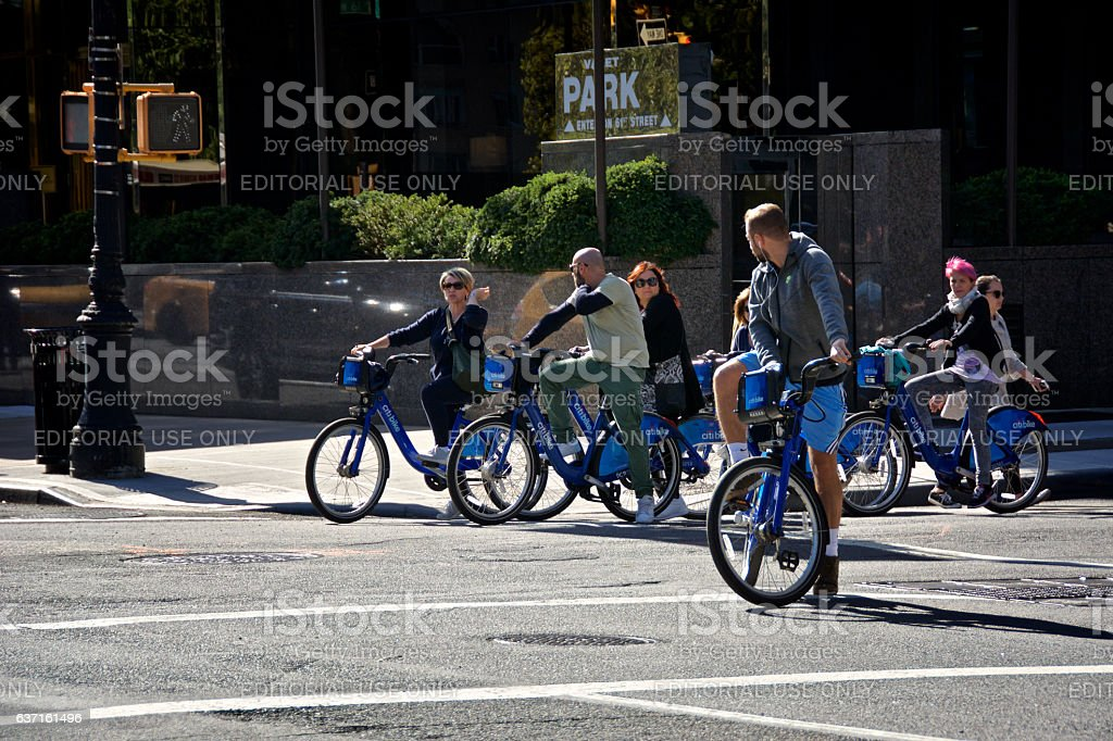 NYC Urban Life, Bicyclists Waiting To Cross Intersection, Manhattan stock photo