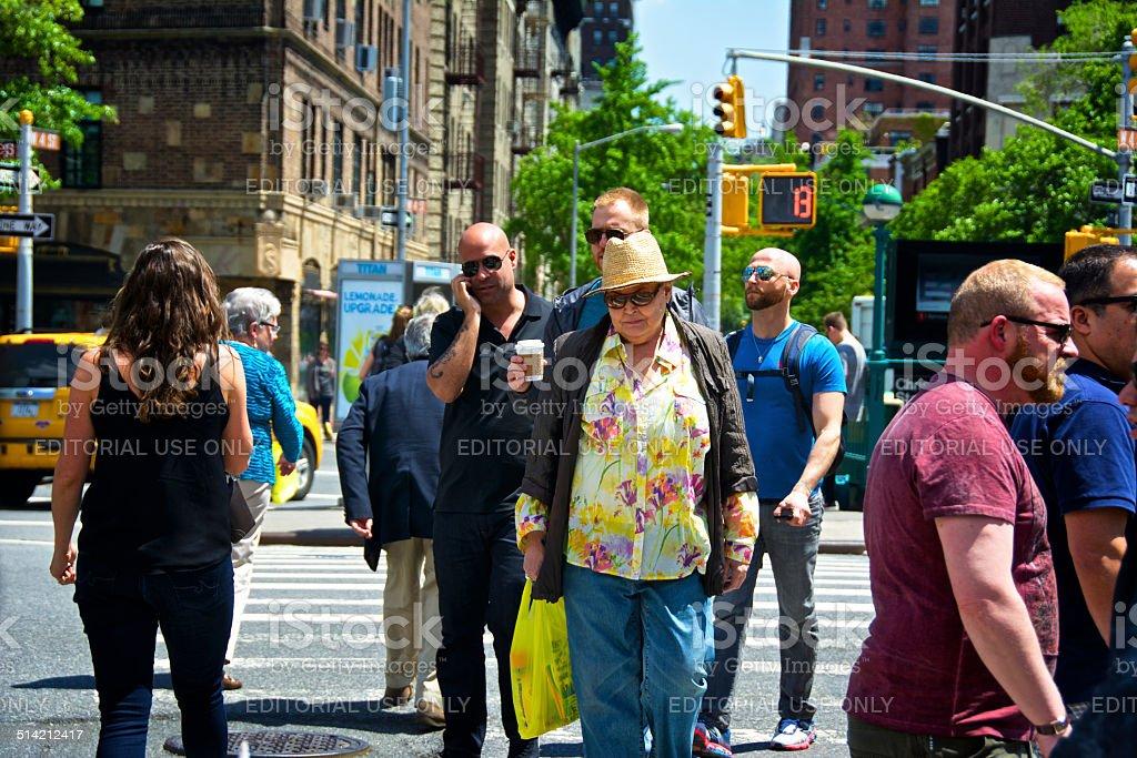 Urban Life, New York City, Pedestrian Crowd Crossing Street, Manhattan stock photo