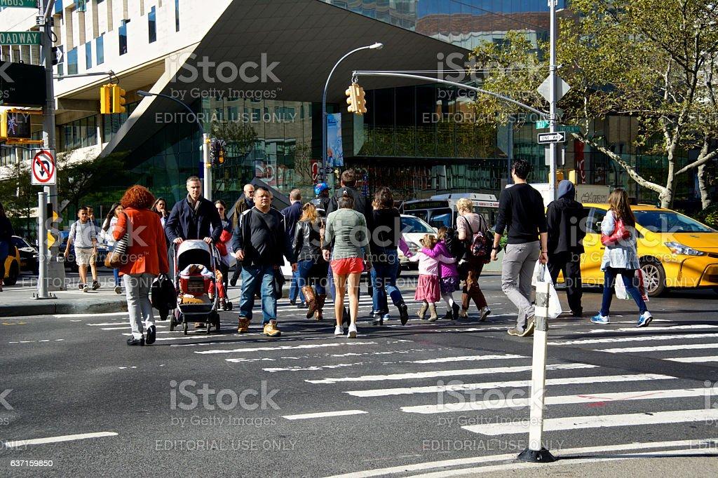 Urban Life, New York City, Pedestrians Crossing Broadway, Manhattan stock photo