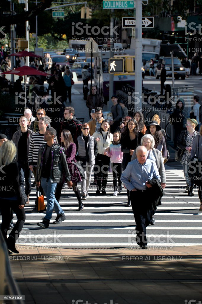Urban Life, New York City, Pedestrians crossing Columbus Avenue, Upper West Side, Manhattan stock photo