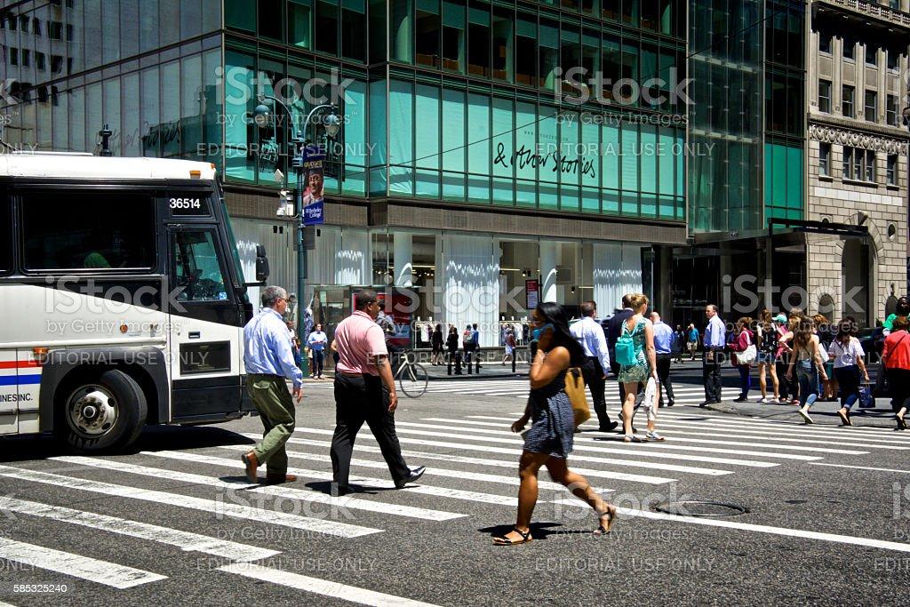 Urban Life, New York City, Pedestrians Crossing Fifth Avenue, Manhattan stock photo