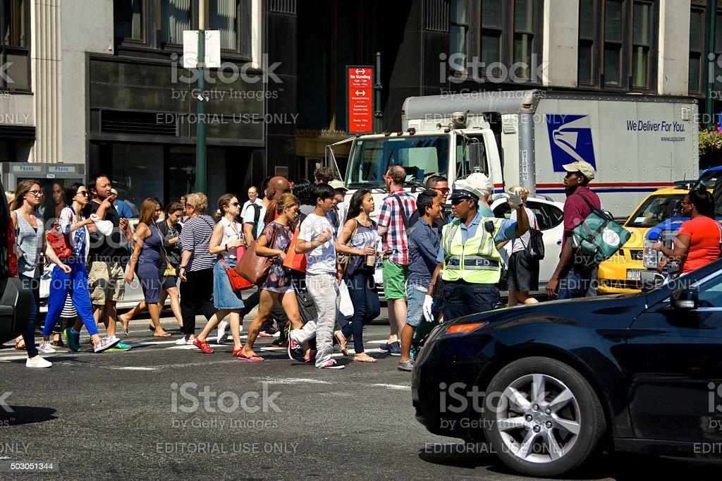 Urban Life, New York City, Pedestrians Crossing Near Traffic, Manhattan stock photo