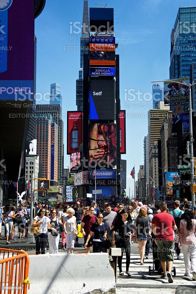 Urban Life, New York City, Pedestrians in Times Square, Manhattan stock photo
