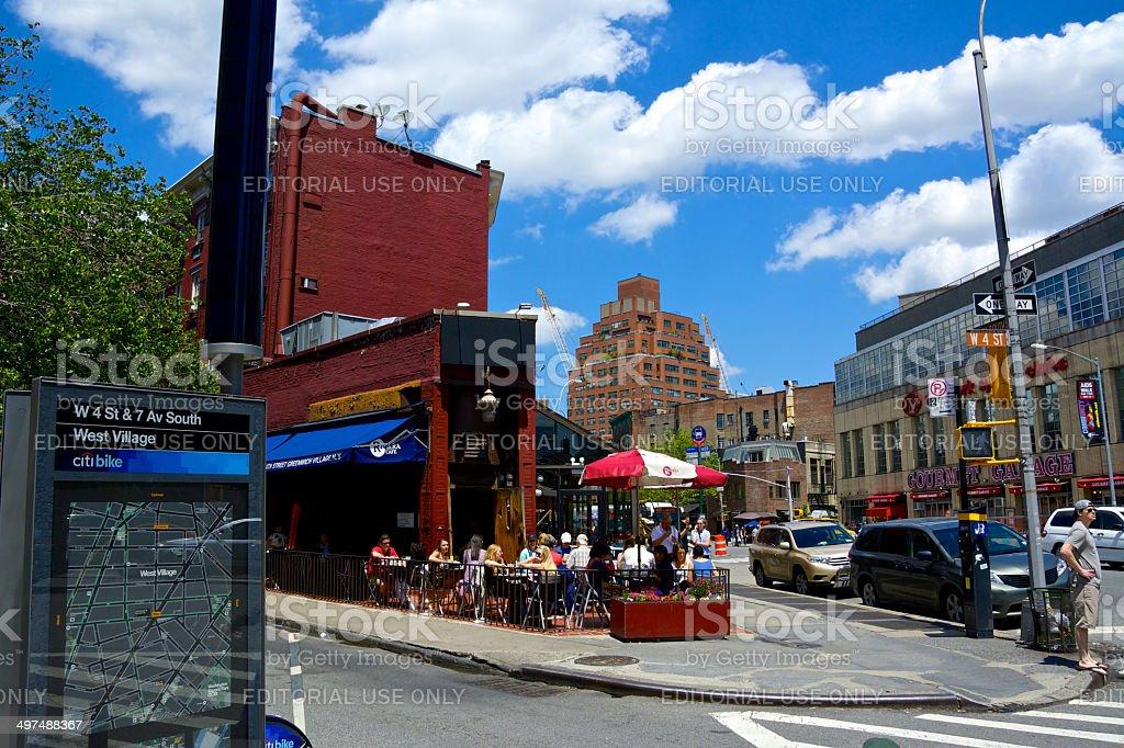 Urban Life, New York City, People at Outdoors Cafe, Manhattan stock photo