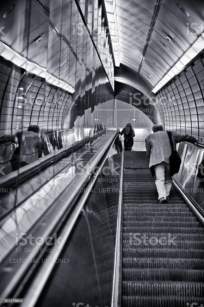 Urban Life, New York City, People on Subway Station Escalator stock photo