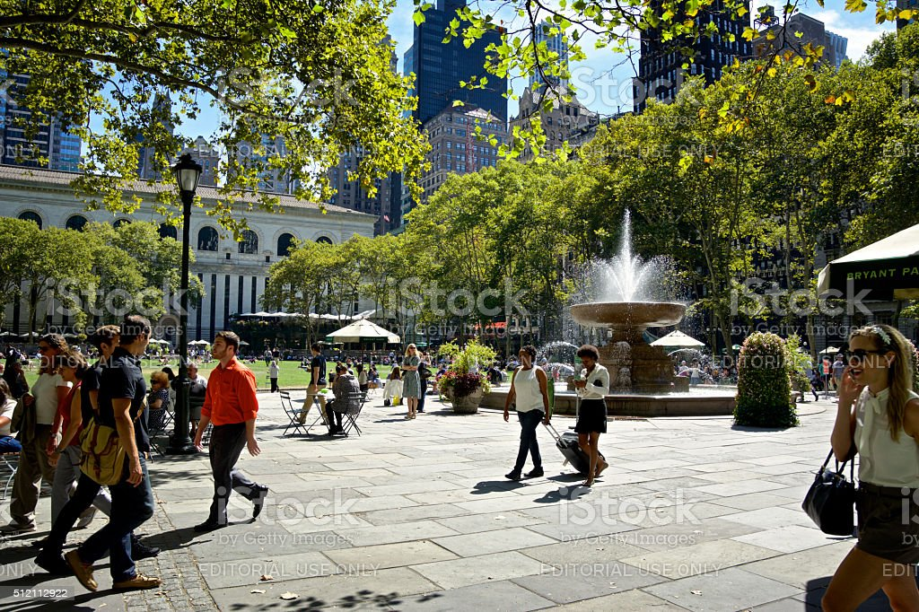 Urban Life, New York City, People Relaxing, Bryant Park, Manhattan stock photo