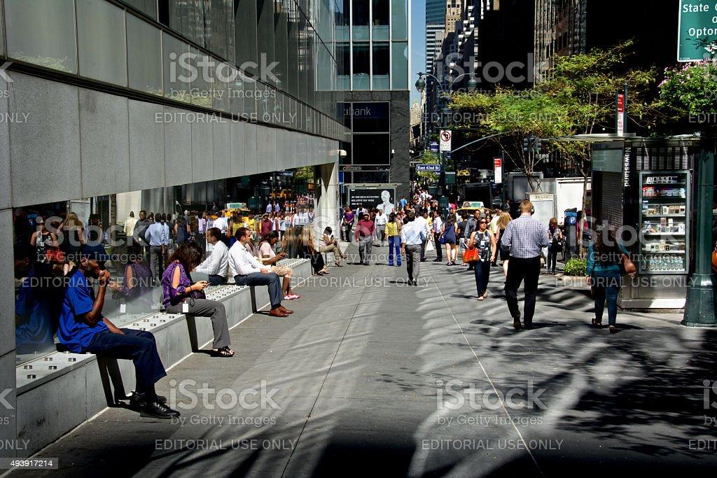 Urban Life, New York City, People Taking a Break, Manhattan stock photo
