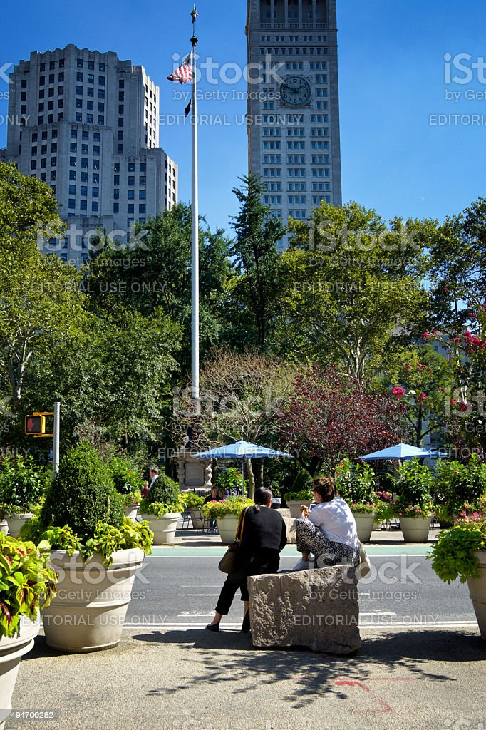 Urban Life, New York City, Relaxing Outdoors on 5th Avenue stock photo