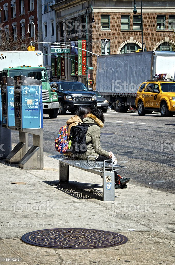 Urban Life, New York City, Waiting for a bus, Manhattan royalty-free stock photo