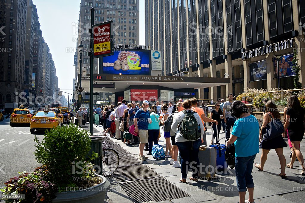 Urban Life, New York City,Taxi Line, 7th Avenue, Manhattan stock photo
