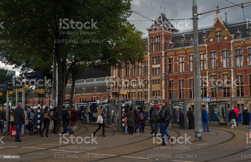 Urban Life Passengers at Amsterdam Centraal Railway Station stock photo