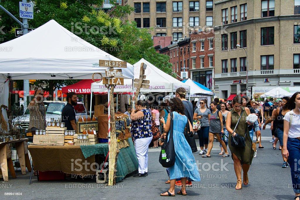 NYC Urban Life, People, Outdoor Farmers Greenmarket, Union Square, Manhattan stock photo