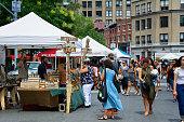 NYC Urban Life, People, Outdoor Farmers Greenmarket, Union Square, Manhattan