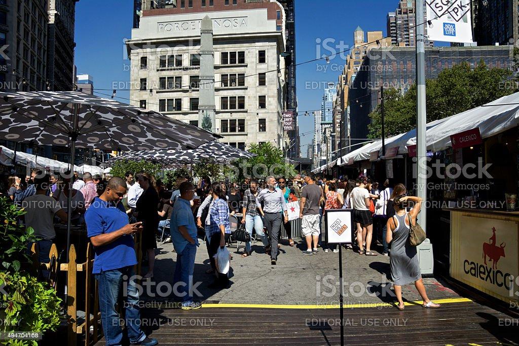 NYC Urban Life, People, Outdoors Food Court, Flatiron District, Manhattan stock photo