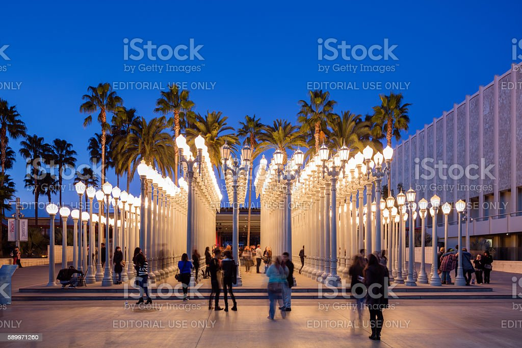 Urban Light by Chris Burden at LACMA stock photo