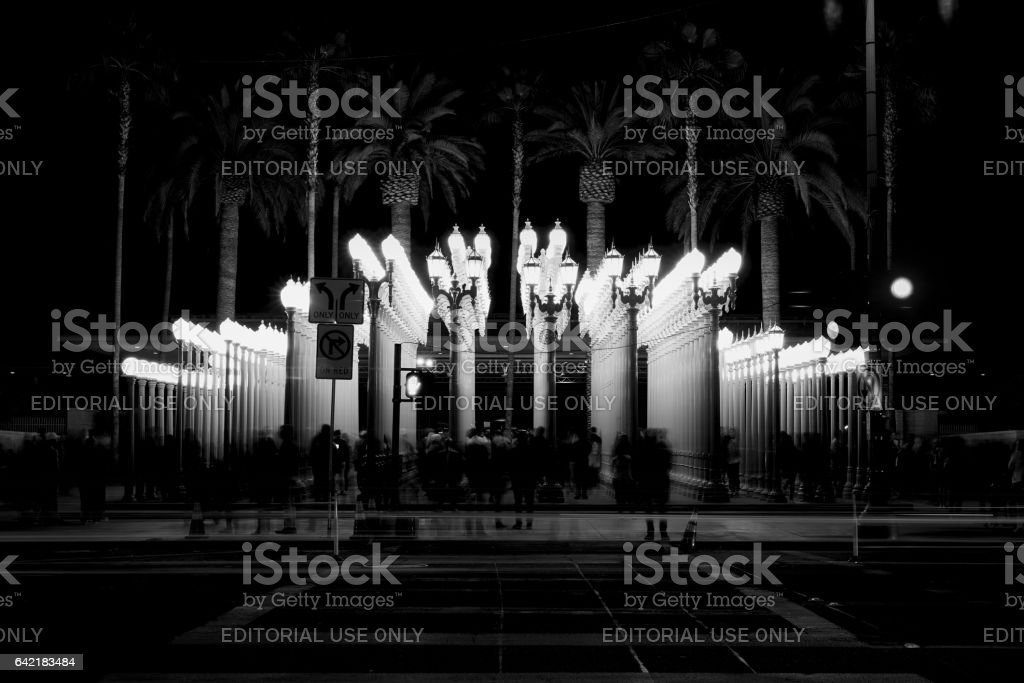 Urban Light night black and white stock photo