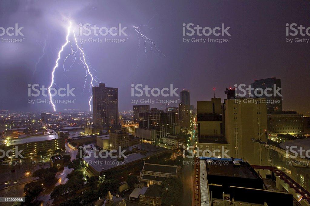 Urban lightening storm in the city stock photo