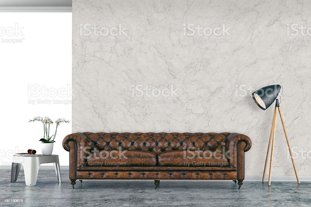 Urban living room with sofa stock photo