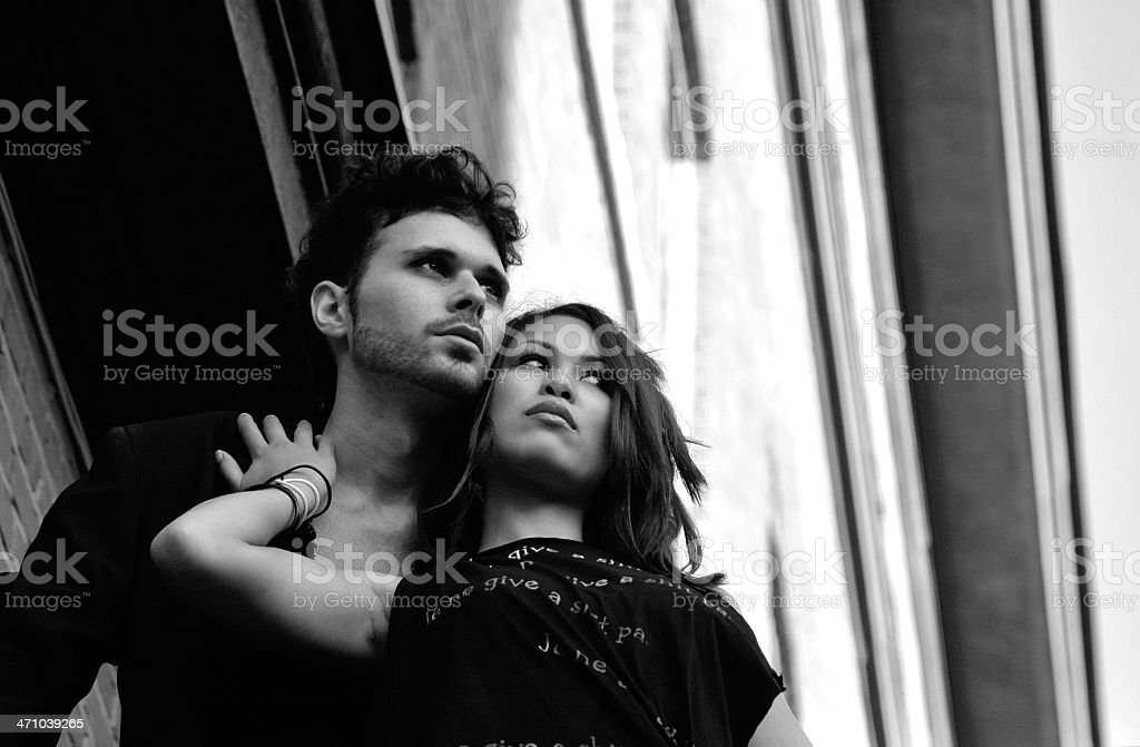 Urban lovers in black and white stock photo