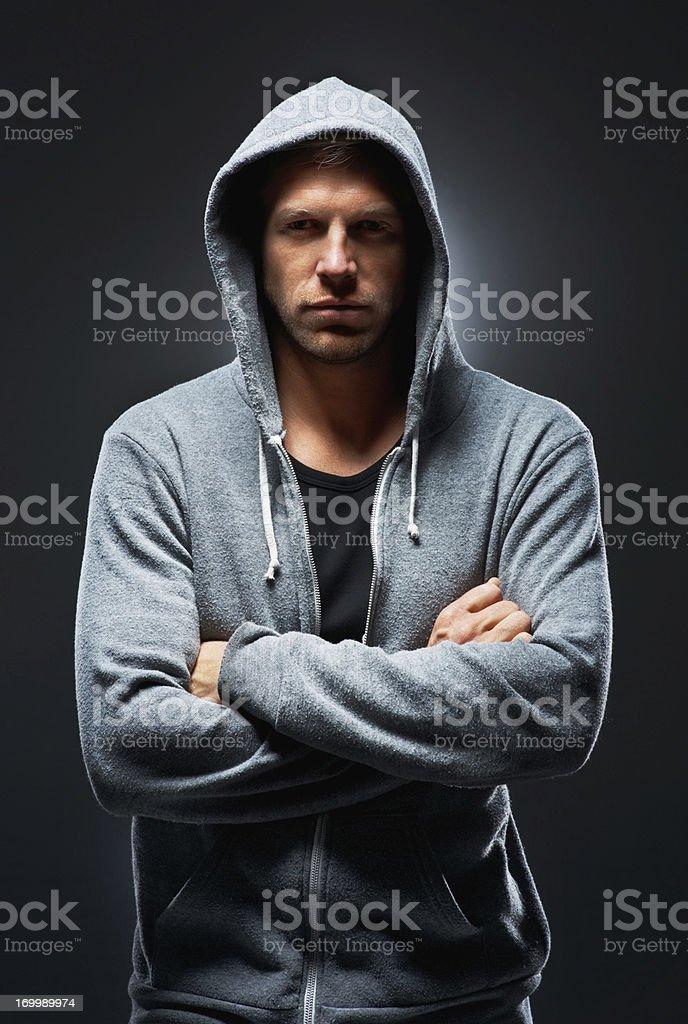 Urban man in focus stock photo