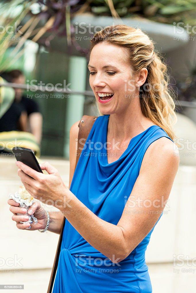 Urban Mature Blond Woman stock photo