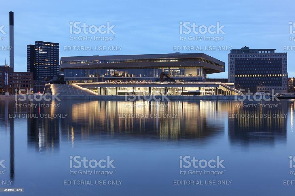 Urban mediaspace at the blue hour in Aarhus, Denmark stock photo
