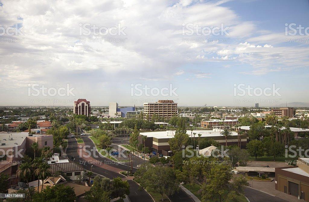 Urban Mesa Arizona Aerial View of City Skyline stock photo