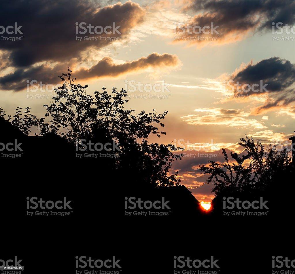 Urban morning silhouette stock photo
