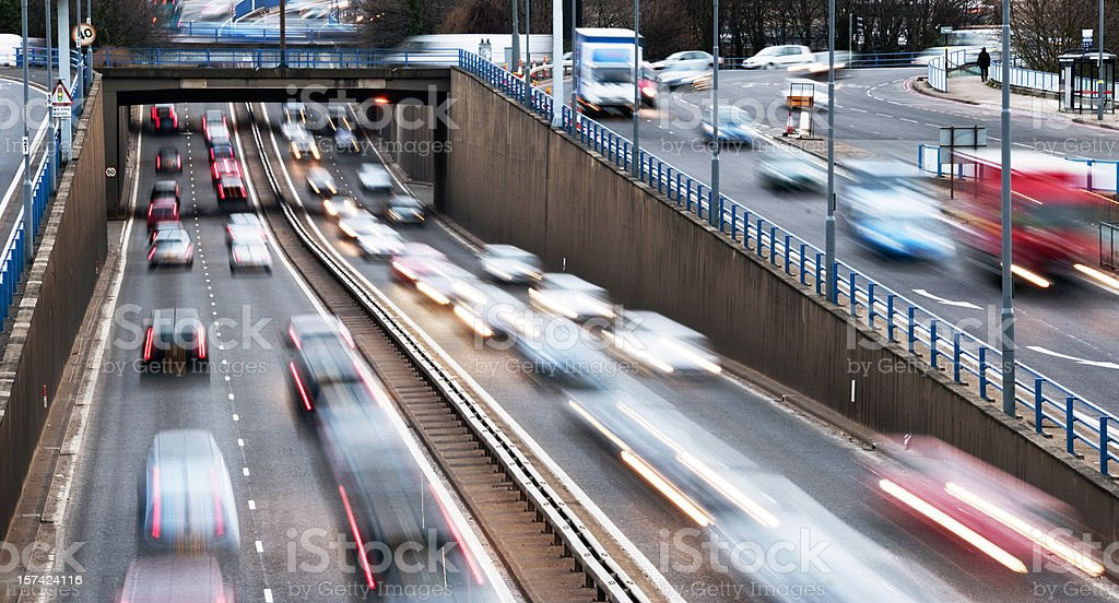 Urban motorway rush hour traffic in birmingham royalty-free stock photo
