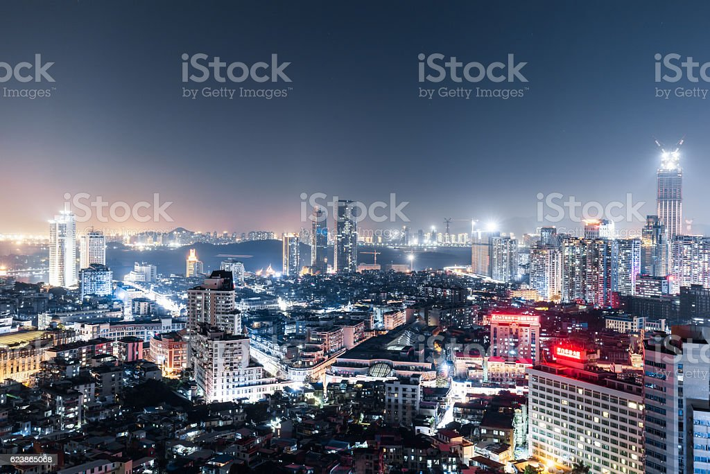Urban night in xiamen, China stock photo