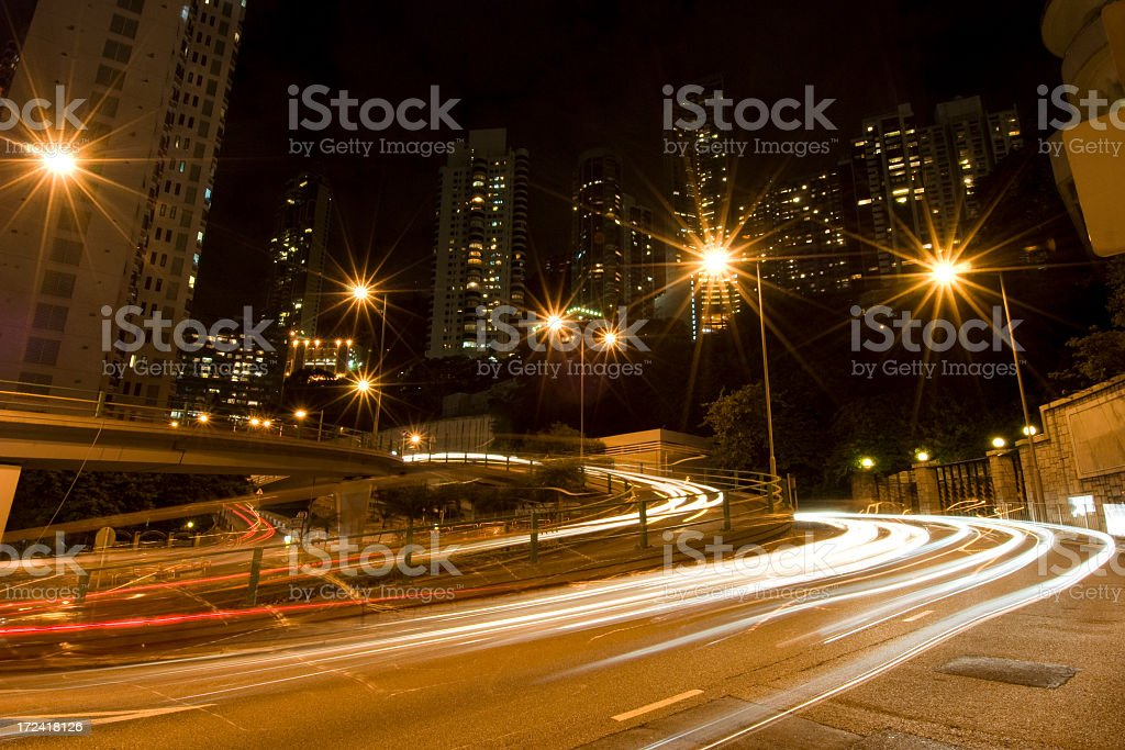 Urban Night Traffic stock photo