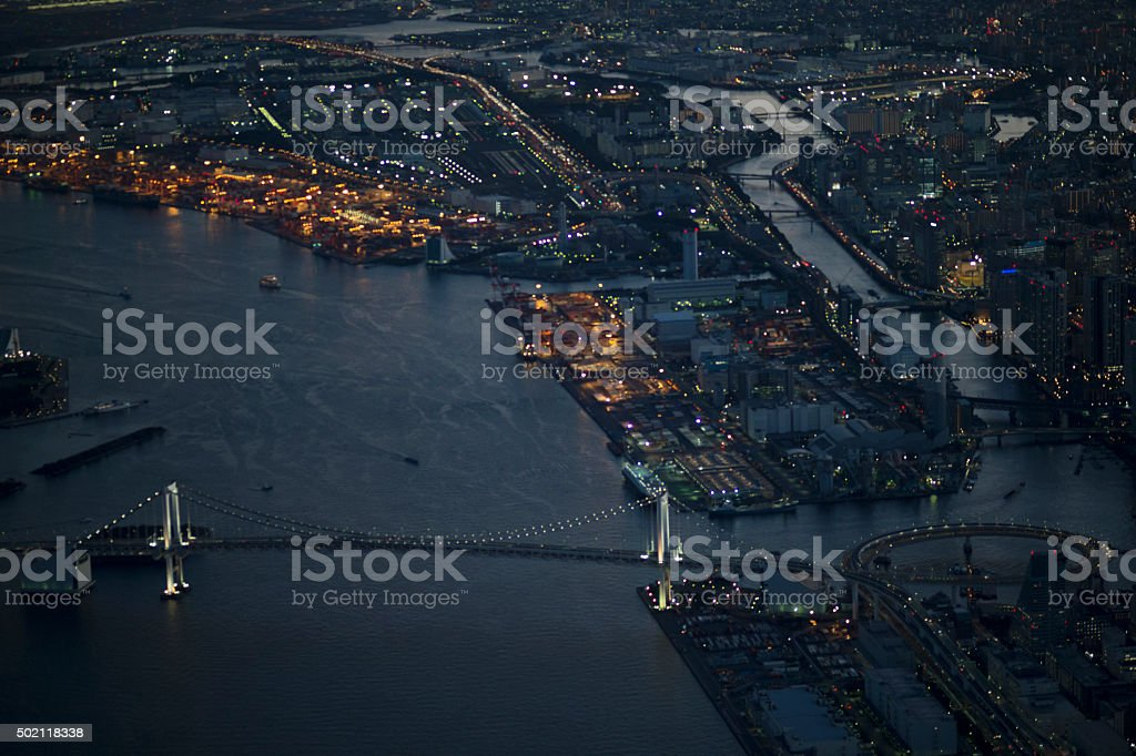 Urban night view as seen from the air stock photo