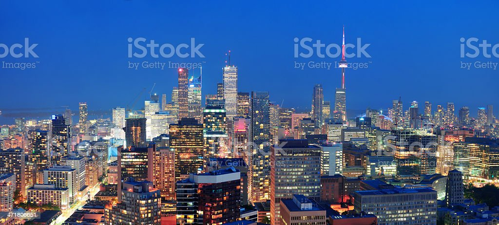 Urban panorama photo of dusk time in Toronto stock photo