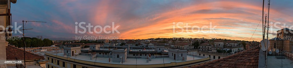Urban panorama Testaccio stock photo